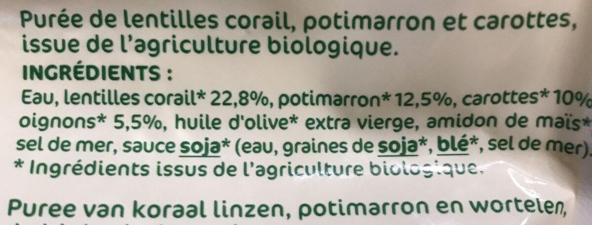 Ecrasé de lentilles corail, potimarron et carottes - Ingrediënten - fr
