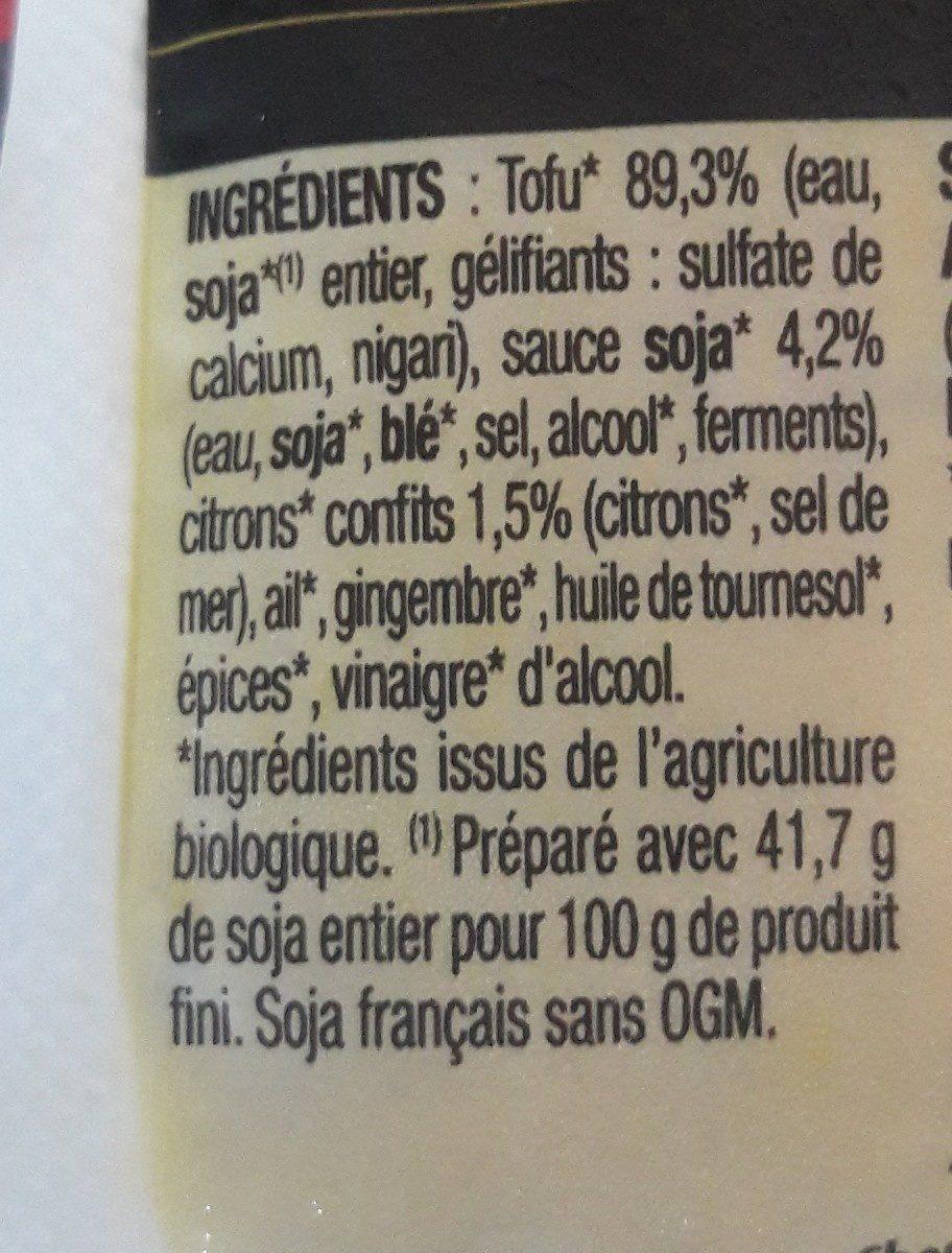 Tofu mariné citron et gingembre - Ingrédients - fr