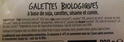 Galette biologique à base de soja, carottes, sésame et cumin - Ingredients - fr