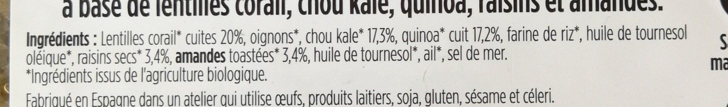 Chou kale raisins & éclats d'amandes aux lentilles corail - Ingrediënten - fr