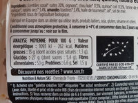 Chou kale raisins & éclats d'amandes aux lentilles corail - Voedingswaarden - fr