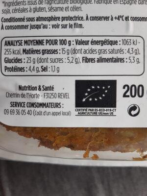Galettes Poireaux coco & curry - Informations nutritionnelles