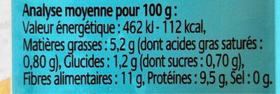 Okara nature - Informations nutritionnelles - fr