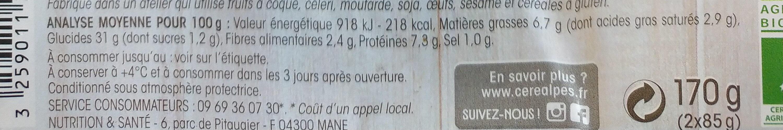 Galettes au riz et millet - Informations nutritionnelles - fr