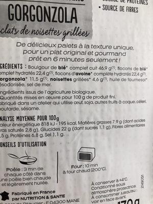 Palets céréaliers gorgonzola - Informations nutritionnelles