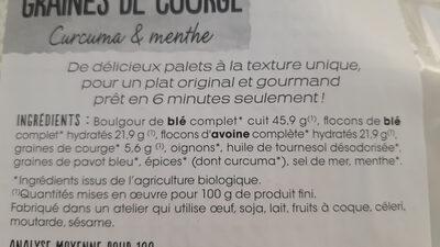 Palets céréales graines de courge - Ingredients - fr