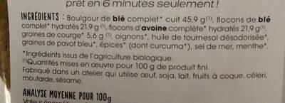 Palets céréales graines de courge - Nutrition facts - fr