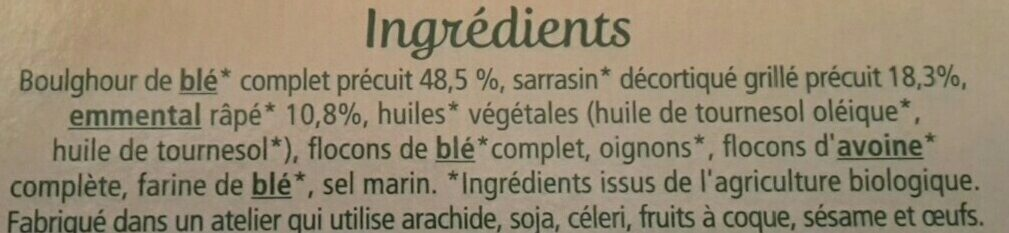 Galettes Boulghour & Sarrasin à l'Emmental - Ingrédients - fr
