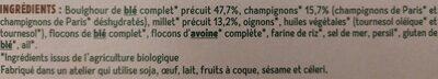 Galettes millet et boulghour aux champignons - Ingredienti - fr