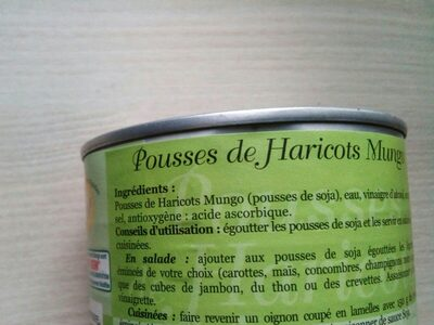 Pousses de Haricots Mungo - Ingredients