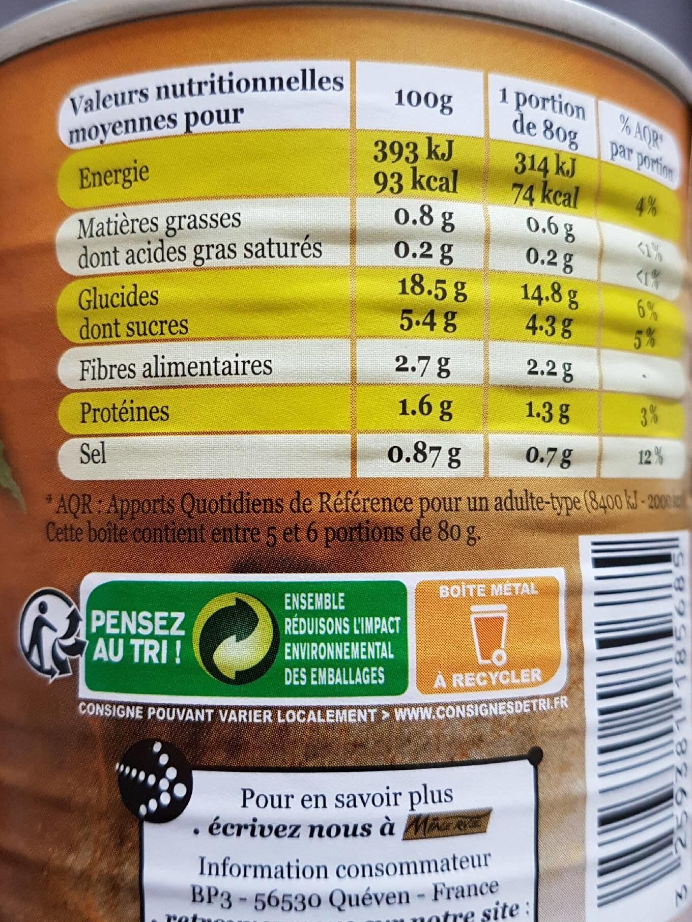 Purée De Marrons - Informations nutritionnelles