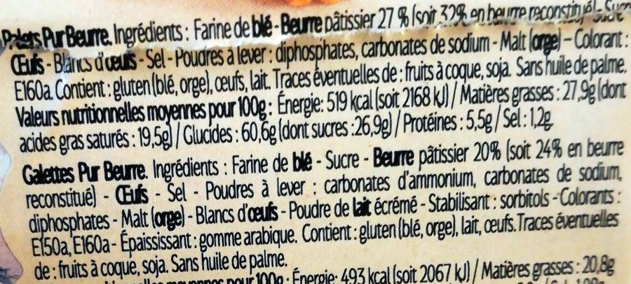 Assortiment Palets et Galettes Pur Beurre - Ingrédients - fr