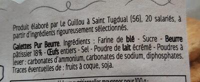 Galettes Bretonnes Le Guillou - Barquette 560 g - Ingrediënten - fr