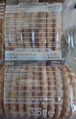 Asst Galettes Palet Kercad 325 G - Valori nutrizionali - fr