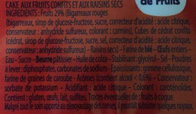 Cake aux Fruits Confits - Ingrédients - fr