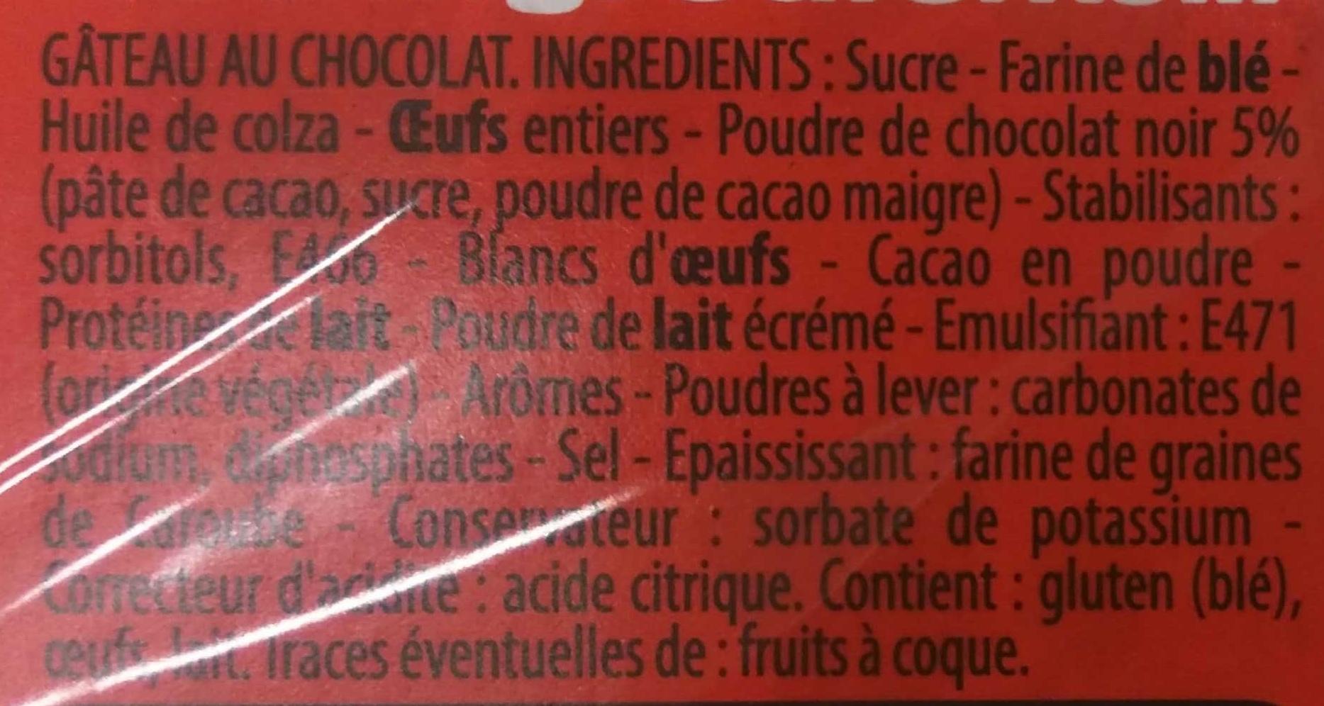 Le Moelleux Chocolat - Ingrédients - fr