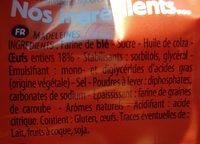 Madeleines Extra Moelleuses - Ingrédients