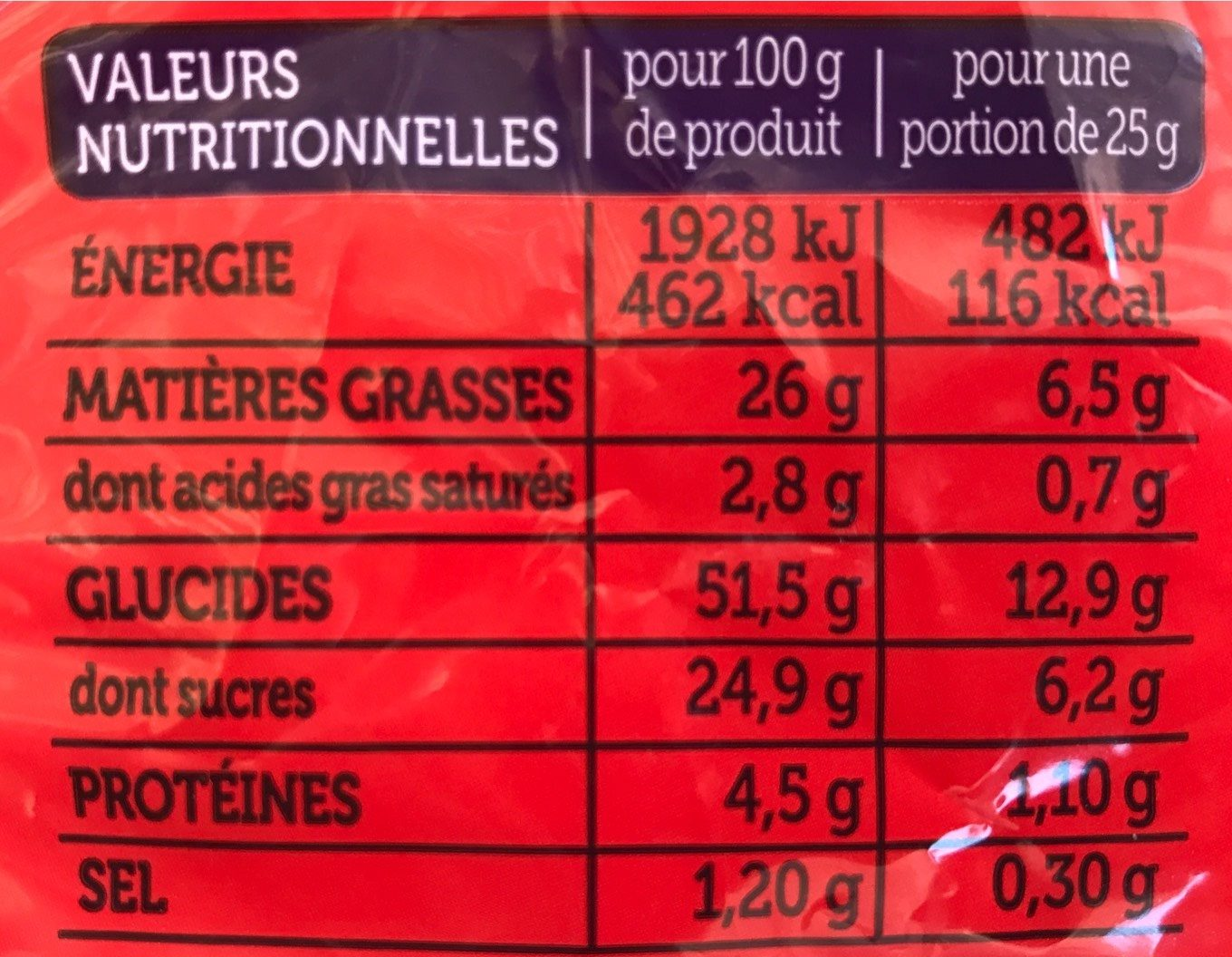 Madeleines Extra Moelleuses - Informations nutritionnelles