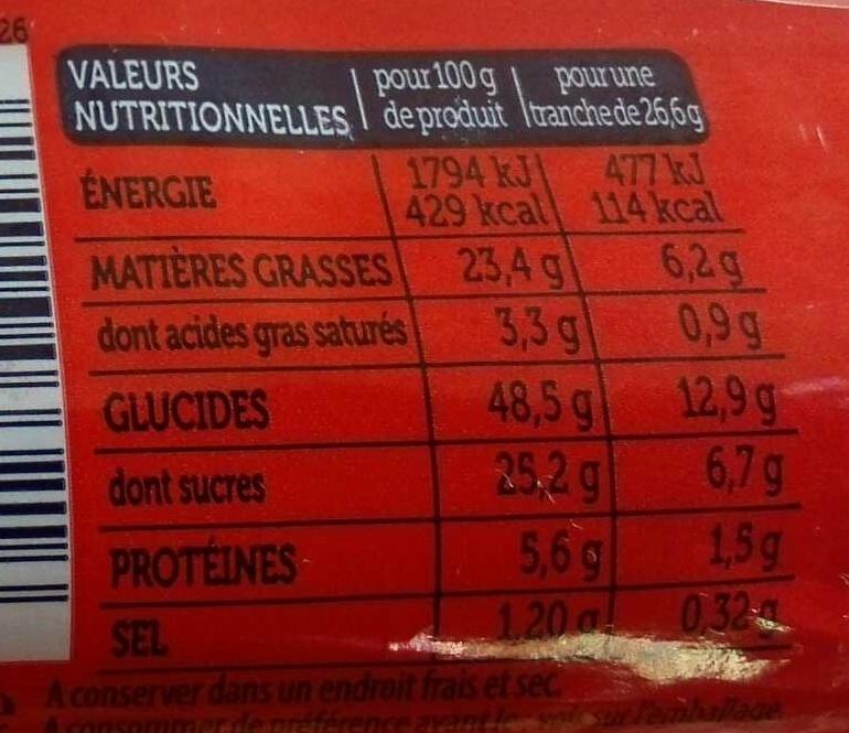 Moelleux Pépites de Chocolat - Informations nutritionnelles - fr