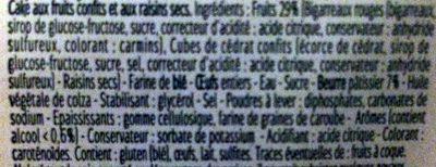 Cake Breton aux fruits confits - Ingrédients - fr