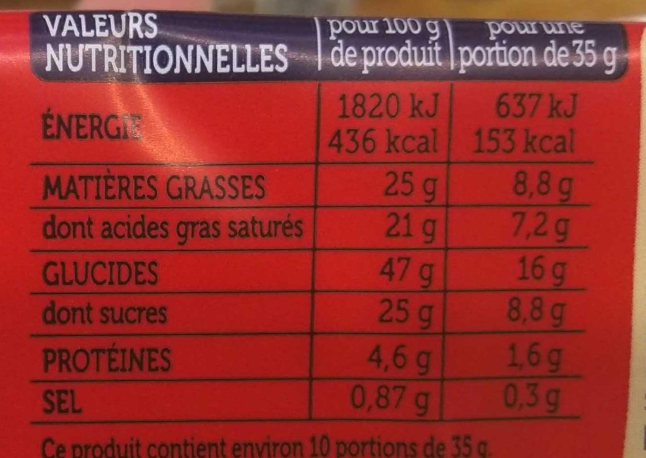 Mon Gâteau Chocolat & pépites de chocolat - Nutrition facts - fr