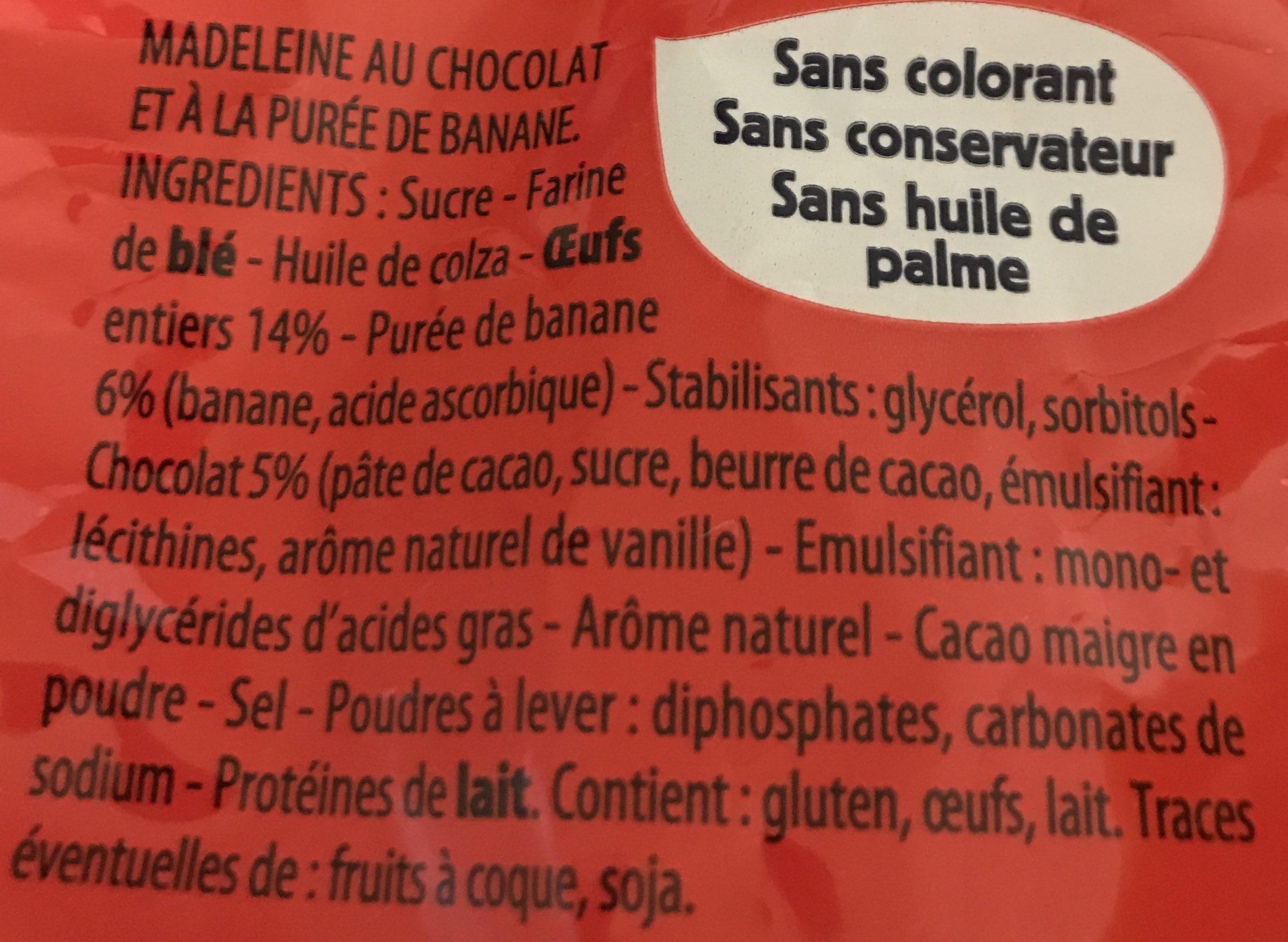 Madeleines Extra Moelleuses Chocolat et Banane - Ingrédients - fr