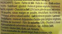Madeleines Cœur Chocolat Goût Noisette - Ingredients