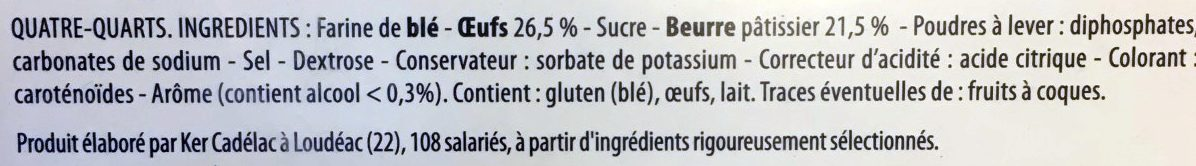 Quatre-Quarts Pur Beurre - Ingredients - fr