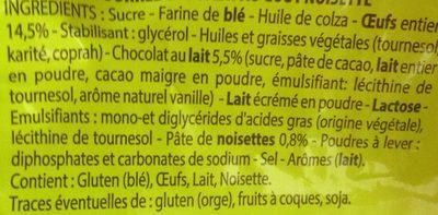 Madeleine Cœur Chocolat Goût Noisette - Ingrédients - fr