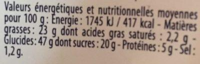 Gâteau au Citron - Nutrition facts - fr