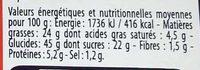 Gâteau au Chocolat - Informations nutritionnelles - fr