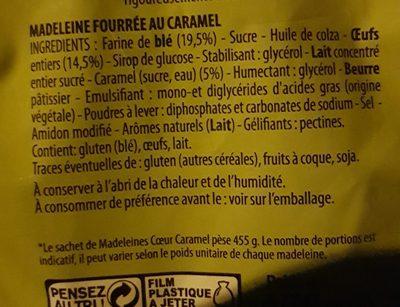 Kid's Madeleine coeur caramel - Ingrédients - fr