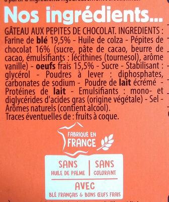 Le moelleux maxi pépites de chocolat - Ingrédients