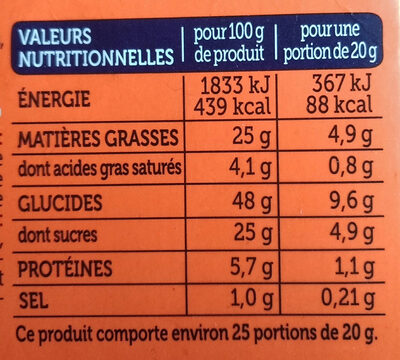 Le moelleux maxi pépites de chocolat - Informations nutritionnelles