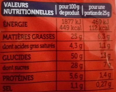Madeleines Extra Moelleuses Chocolat au Lait - Nutrition facts