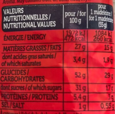 maxi madeleine - Informations nutritionnelles - fr