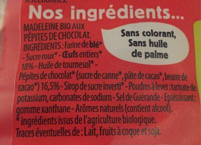 Madeleines bio pépites de chocolat - Inhaltsstoffe - fr