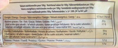 Madeleines longues marbré - Nutrition facts - fr