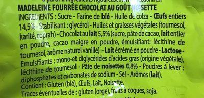 Madeleine Cœur Chocolat Goût Noisette - Ingrédients