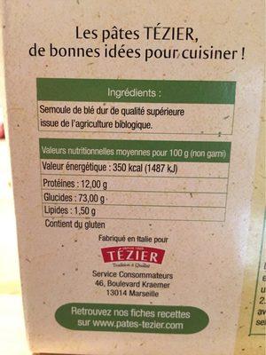 Lasagne Bio à farcir - Informations nutritionnelles - fr