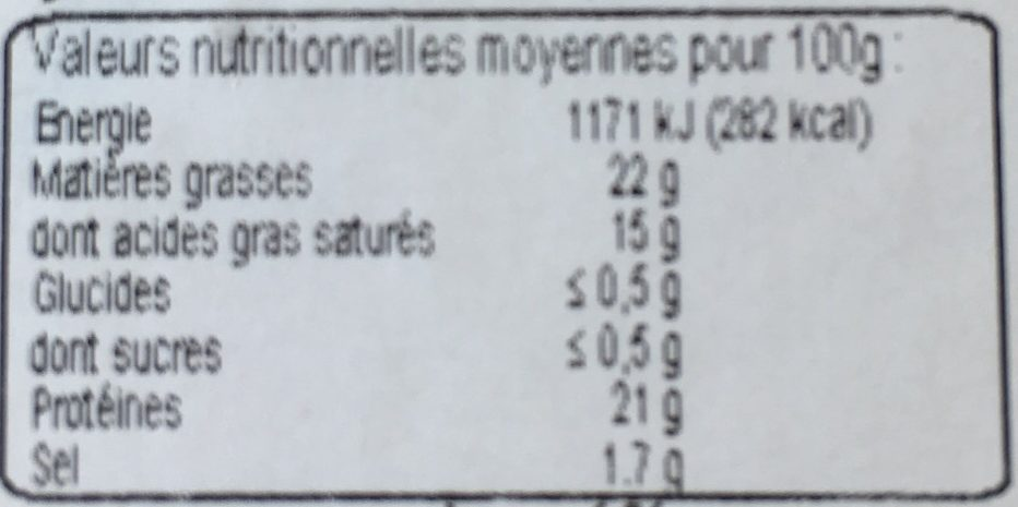 Coulommiers au lait cru - Nutrition facts