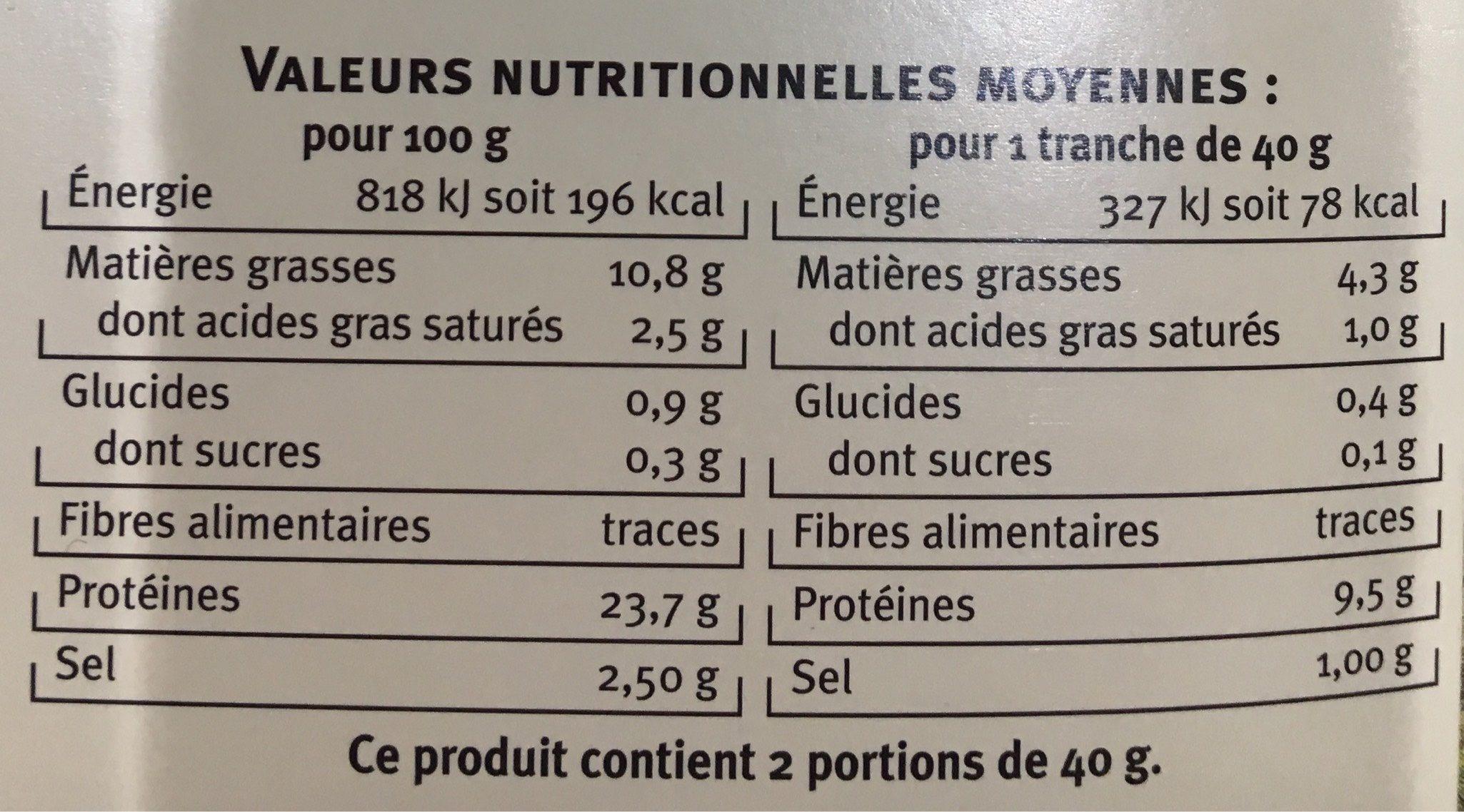 Saumon Atlantique fumé - Nutrition facts