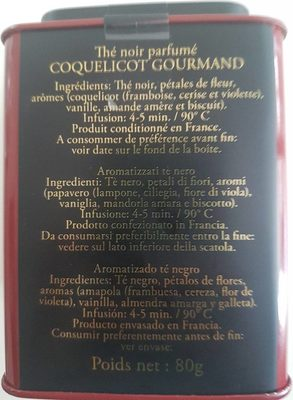 Coquelicot Gourmand 275 - Nutrition facts