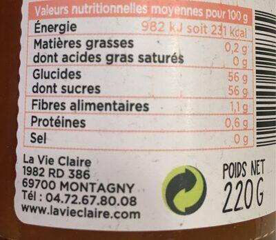 Confiture artisanale abricot - Informations nutritionnelles
