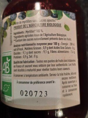 Purée de myrtilles - Nutrition facts