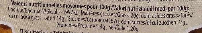 Palets pur beurre - Voedingswaarden - fr