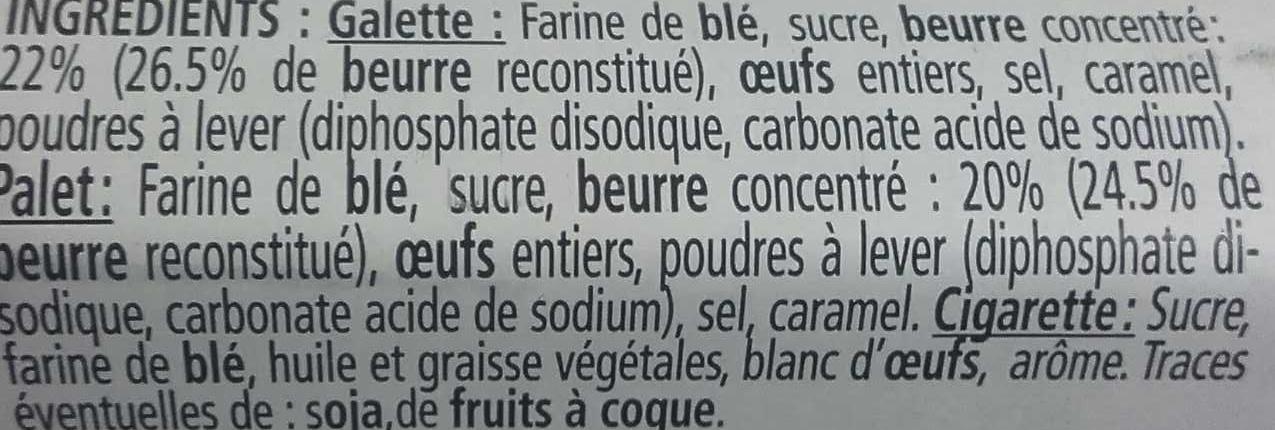 Galettes, palets, cigarettes - Ingrediënten - fr
