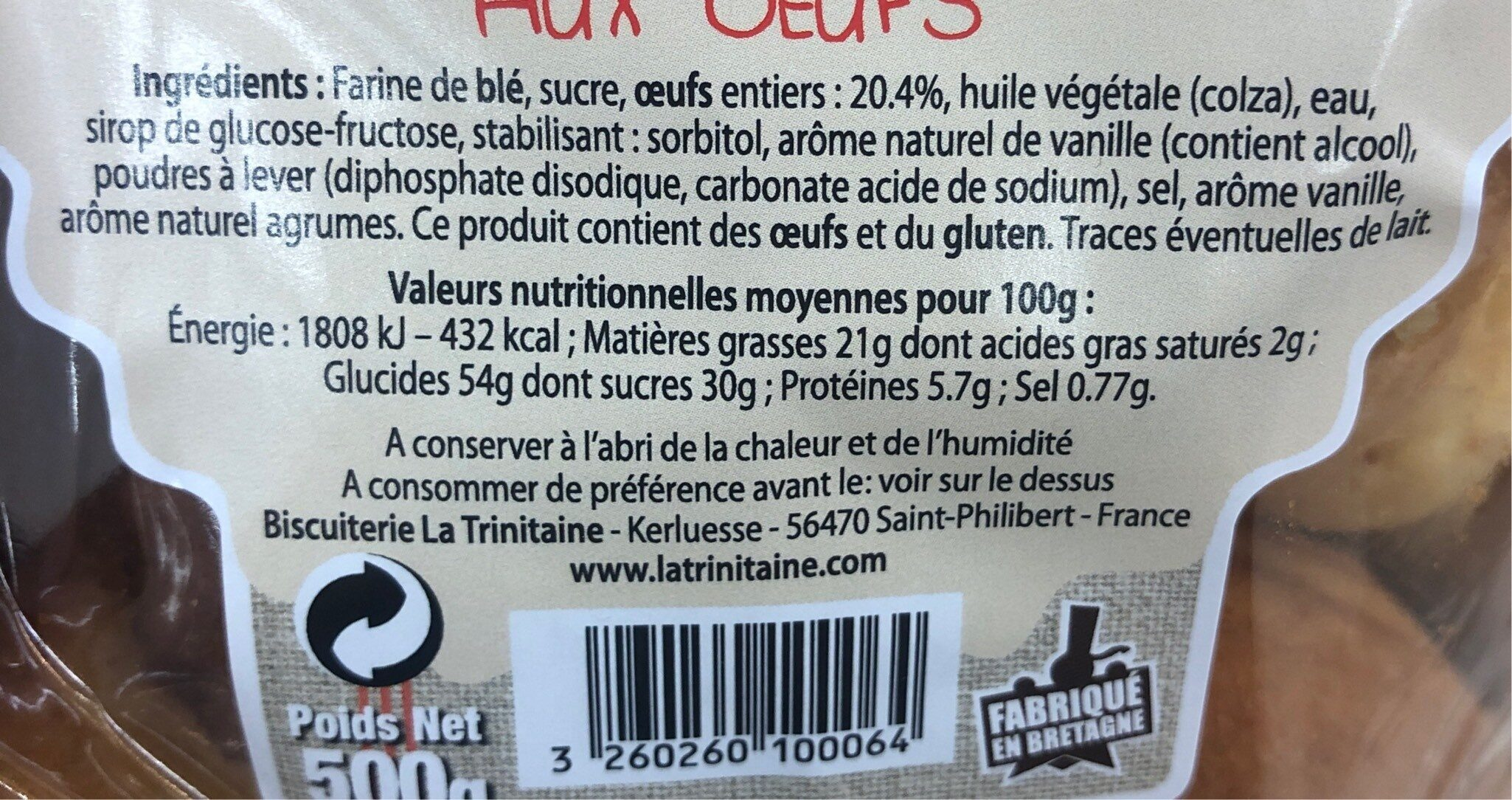 Madelaines aux oeufs - Informations nutritionnelles