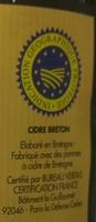 Cidre Breton Doux - Ingredients