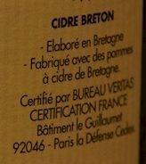 Cidre  Bouché Bio Doux - Ingrédients - fr